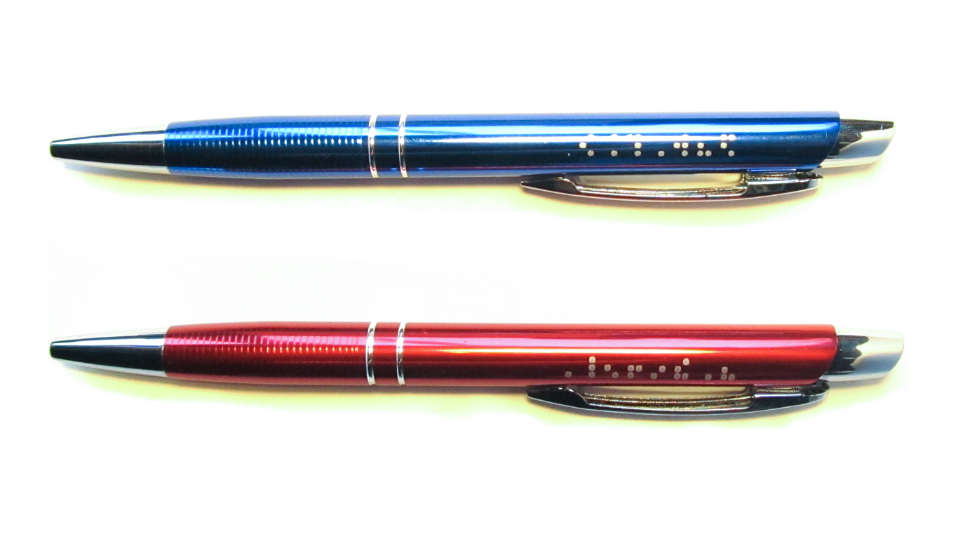 slika plave i crvene kemijske olovke TGM-M na Brailleu